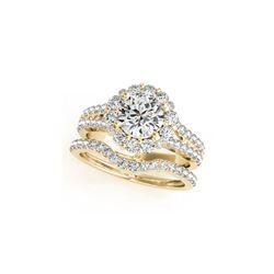 2.08 ctw Certified VS/SI Diamond 2pc Wedding Set Halo 14K Yellow Gold
