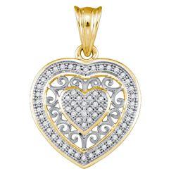 10kt Yellow Gold Round Diamond Openwork Heart Cluster Pendant 1/6 Cttw