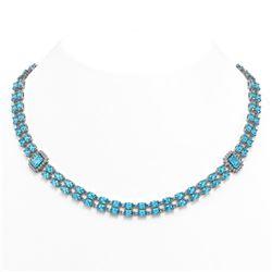 61.05 ctw Swiss Topaz & Diamond Necklace 14K White Gold