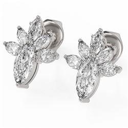 1.75 ctw Marquise Cut Diamond Designer Earrings 18K White Gold