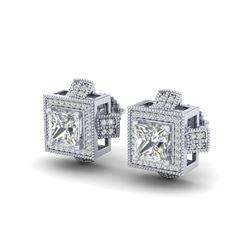 2.75 ctw Princess VS/SI Diamond Micro Pave Stud Earrings 18K White Gold