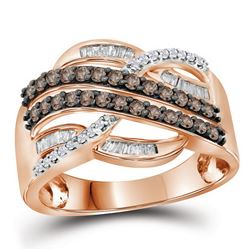 10kt Rose Gold Round Brown Diamond Crossover Band Ring 1/2 Cttw