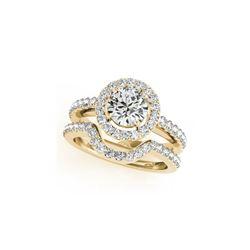 2.02 ctw Certified VS/SI Diamond 2pc Wedding Set Halo 14K Yellow Gold