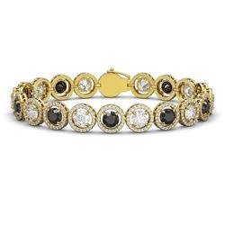15.47 ctw Black & Diamond Micro Pave Bracelet 18K Yellow Gold