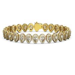 12.2 ctw Pear Cut Diamond Micro Pave Bracelet 18K Yellow Gold