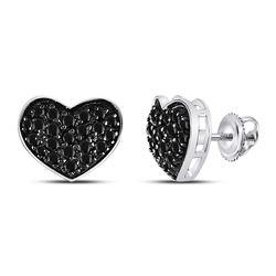 10kt White Gold Round Black Color Enhanced Diamond Heart Cluster Earrings 3/8 Cttw