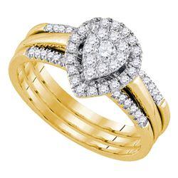 14kt Yellow Gold Diamond Teardrop Cluster Bridal Wedding Engagement Ring Band Set 1/2 Cttw