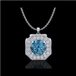 1.54 ctw Fancy Intense Blue Diamond Art Deco Necklace 18K White Gold