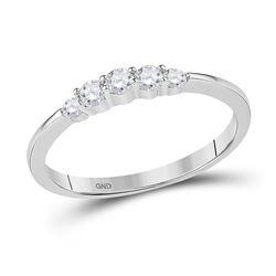 10kt White Gold Round Diamond 5-stone Bridal Wedding Engagement Ring 1/4 Cttw