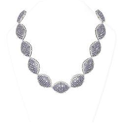 92.25 ctw Tanzanite & Diamond Necklace 18K White Gold