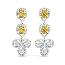 8.15 ctw Canary Citrine & VS Diamond Earrings 18K White Gold