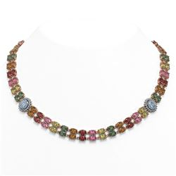 65.29 ctw Sapphire & Diamond Necklace 14K Rose Gold