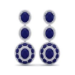 32.84 ctw Sapphire & VS Diamond Earrings 18K White Gold