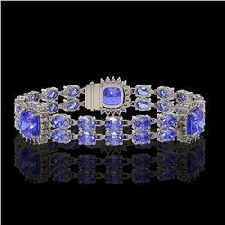 19.6 ctw Tanzanite & Diamond Bracelet 14K White Gold