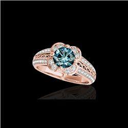 2.05 ctw SI Certified Fancy Blue Diamond Halo Ring 10K Rose Gold