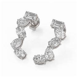 2.7 ctw Mix Cut Diamonds Designer Earrings 18K White Gold