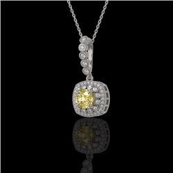 1.95 ctw Canary Citrine & Diamond Victorian Necklace 14K White Gold