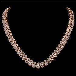 24.19 ctw Pear Cut Diamond Micro Pave Necklace 18K Rose Gold
