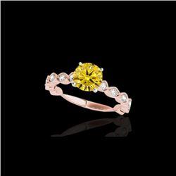 1.75 ctw Certified SI/I Fancy Intense Yellow Diamond Ring 10K Rose Gold