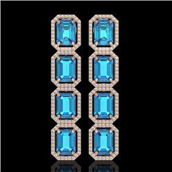 18.99 ctw Swiss Topaz & Diamond Micro Pave Halo Earrings 10K Rose Gold