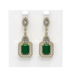 16.57 ctw Emerald & Diamond Earrings 18K Yellow Gold