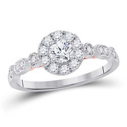 14kt Two-tone White Rose Gold Round Diamond Solitaire Bridal Wedding Engagement Ring 3/4 Cttw