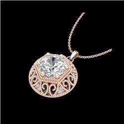 1.11 ctw VS/SI Diamond Solitaire Art Deco Stud Necklace 18K Rose Gold