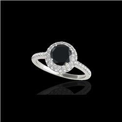 1.6 ctw Certified VS Black Diamond Solitaire Halo Ring 10K White Gold