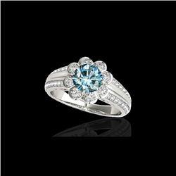 2.05 ctw SI Certified Fancy Blue Diamond Halo Ring 10K White Gold