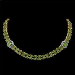 38.37 ctw Tourmaline & Diamond Necklace 14K Yellow Gold