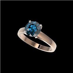 2.04 ctw Certified Intense Blue Diamond Engagement Ring 10K Rose Gold
