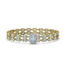 19.96 ctw Aquamarine & Diamond Bracelet 14K Yellow Gold