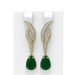 6.79 ctw Emerald & Diamond Earrings 18K Yellow Gold