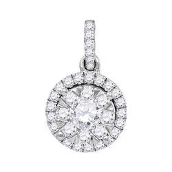 14kt White Gold Round Diamond Frame Flower Cluster Pendant 7/8 Cttw