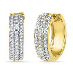 10kt Yellow Gold Round Diamond Triple Row Hoop Earrings 1/2 Cttw