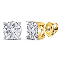 10kt Yellow Gold Round Diamond Fashion Cluster Earrings 1/4 Cttw