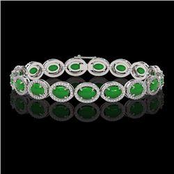 21.78 ctw Jade & Diamond Micro Pave Halo Bracelet 10K White Gold