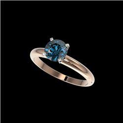 1.29 ctw Certified Intense Blue Diamond Engagement Ring 10K Rose Gold