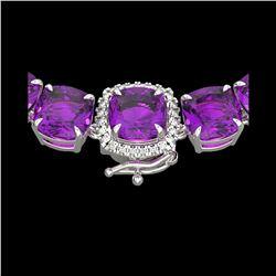 116 ctw Amethyst & VS/SI Diamond Micro Necklace 14K White Gold