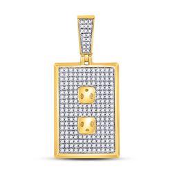 10kt Yellow Gold Mens Round Diamond Power Outlet Plug Charm Pendant 5/8 Cttw