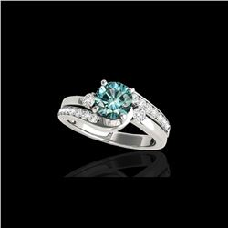 2 ctw SI Certified Fancy Blue Diamond Bypass Solitaire Ring 10K White Gold