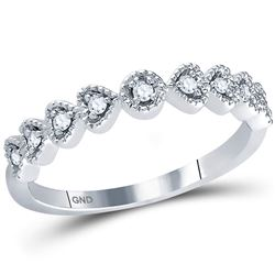14kt White Gold Round Diamond Heart Stackable Band Ring 1/10 Cttw