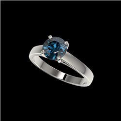 1.50 ctw Certified Intense Blue Diamond Engagement Ring 10K White Gold