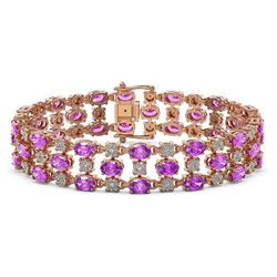 21.56 ctw Amethyst & Diamond Bracelet 10K Rose Gold
