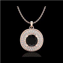 1.25 ctw Fancy Black Diamond Art Deco Stud Necklace 18K Rose Gold