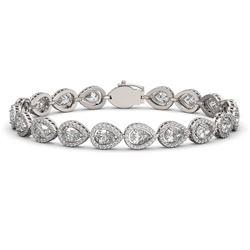 14.28 ctw Pear Cut Diamond Micro Pave Bracelet 18K White Gold