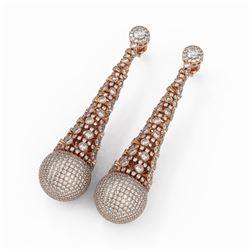 17.30 ctw Diamond Designer Earrings 18K Rose Gold