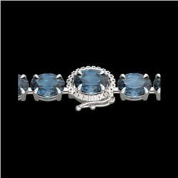 19.25 ctw London Blue Topaz & VS/SI Diamond Micro Bracelet 14K White Gold
