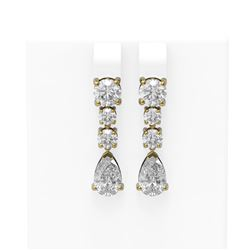 4.5 ctw Pear Diamond Earrings 18K Yellow Gold