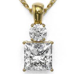 1.25 ctw Princess Cut Diamond Necklace 18K Yellow Gold